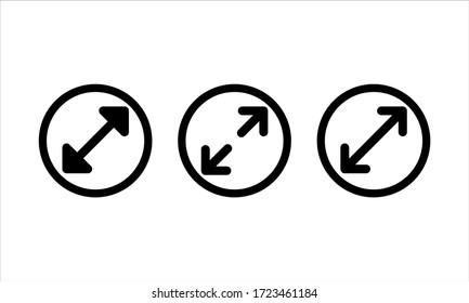 Diameter icon set in black on isolated white background. EPS 10 vector.