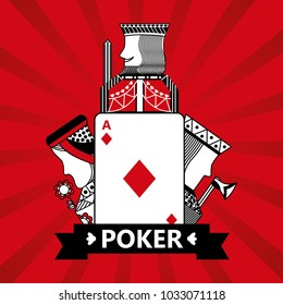 diamond ace jack king and queen cards playing poker red  background