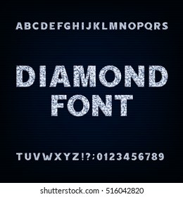 Diamond alphabet font. Brilliant letters symbols and numbers. Stock vector typeface for your design.