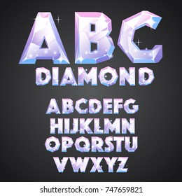 Diamond alphabet font in the cartoon style. ABC - brilliant letters. Alphabet set of game design, kids' illustrations, posters, greeting cards. Shiny, glow diamond font. Vector illustration
