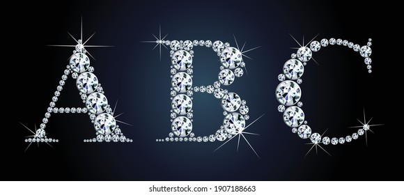 Diamond alphabet letters. Stunning beautiful ABC jewelry set in gems and silver. Vector eps10 illustration.