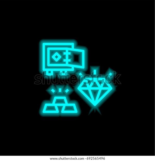 Diamond blue glowing neon ui ux icon. Glowing sign logo vector