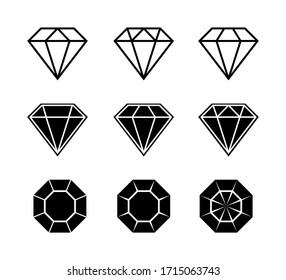 Diamond brilliant. Vector icon collection. Vector black diamonds collection. Linear outline sign. Diamond shapes gemstone. EPS 10