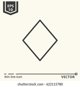 Diamond (card color).  Vector single isolated icon. EPS 10. Isolated object.