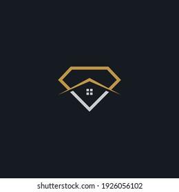 diamond combination real estate logo graphic vector illustration