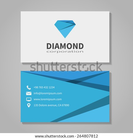 Diamond corporation business card template modern stock vector diamond corporation business card template in modern style office and visit phone number flashek Images