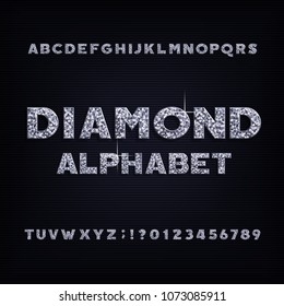 Diamond crystal alphabet bold font. Luxury jewellery letters and numbers. Stock vector typeface.