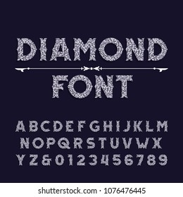 Diamond crystal alphabet font. Ornate jewellery letters and numbers. Stock vector typography.