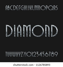 Diamond crystal alphabet font. Ornate jewellery art deco letters and numbers. Stock vector typography.