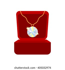 Diamond crystal pendant brilliant. Pendant with ruby in gift jewelry box is insulated on white background. flat vector illustration