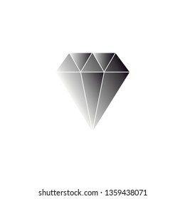 Diamond crystal vector with white background