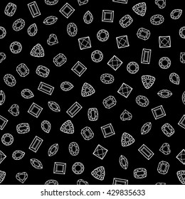 Diamond cut shapes. Seamless pattern. Heart, drop, emerald, oval, round and other diamond cut shapes. Abstract hand drawd pattern with gemstones. Black background.