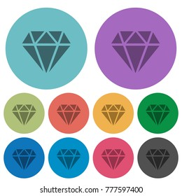 Diamond darker flat icons on color round background