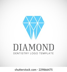 Diamond Dentistry Tooth Abstract Vector Logo Template With Typography