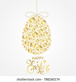 Diamond Easter egg decoration. Shining yellow gemstones in shape of easter egg with diamond bow and golden calligraphy text. Spring festive decoration