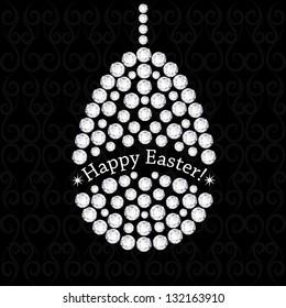 Diamond easter egg on black background