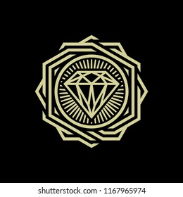Diamond emblem sign vector illustration. Suitable for graphic element, apparel, and other design needs. Non-Layered.