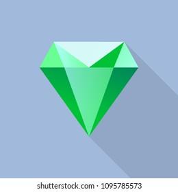Diamond emerald icon. Flat illustration of diamond emerald vector icon for web design