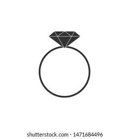 Diamond engagement ring icon isolated. Flat design. Vector Illustration