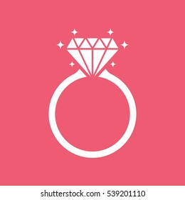 Diamond engagement ring icon on pink background, flat design style. Vector illustration eps 10.
