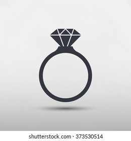 Diamond engagement ring icon - Vector