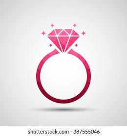 Diamond engagement ring icon - Vector