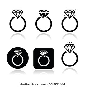 Diamond engagement ring vector icon