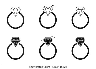 Diamond engagement ring vector icon,  wedding rings icons, on white background