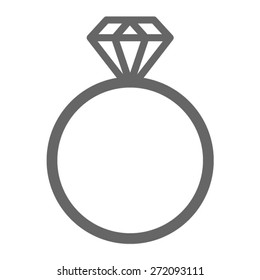 Diamond engagement ring or wedding ring line art vector icon for websites