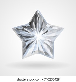 Diamond Five Pointed Star. Brilliant five beam, ray star. Vector Triangular Template Object