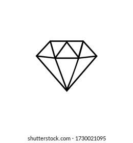 Diamond flat black and white icon.
