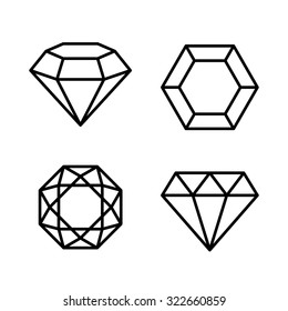Diamond Gems Icons Set on White Background. Vector