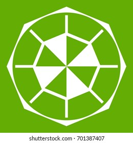 Diamond gemstone icon white isolated on green background. Vector illustration