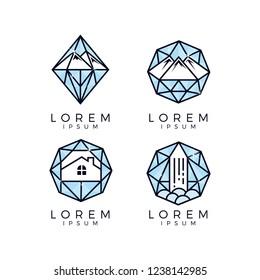 Diamond Glass Logo Set