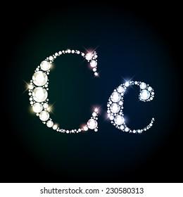 "Diamond glittering letter ""C"" of sparkling brilliants (glitter font concept)"