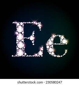 "Diamond glittering letter ""E"" of sparkling brilliants (glitter font concept)"