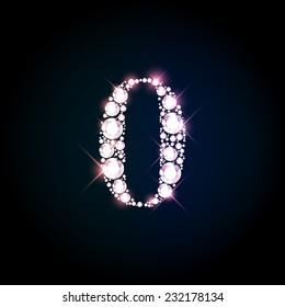 "Diamond glittering number ""0"" zero of sparkling brilliants (glitter font concept)"