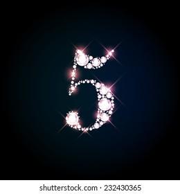 "Diamond glittering number ""5"" five of sparkling brilliants (glitter font concept)"