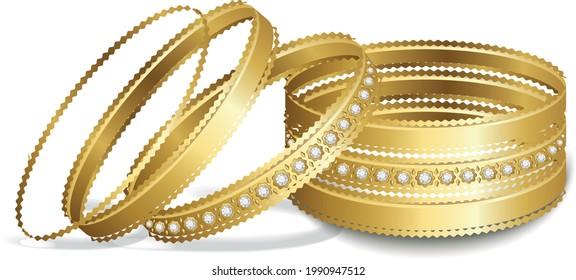 diamond and gold bangle gold Bracelet jewelry woman fashion Indian bridal bangles Arabian bangles vector illustration