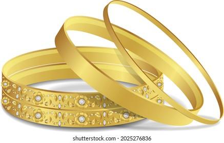 diamond and gold bangles or gold Bracelet woman fashion jewelry luxury bangle set vector illustration