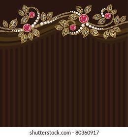 Diamond and gold decoration. Postcard. Vector.