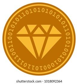 Diamond golden digital coin icon. Vector style is a gold yellow flat coin cryptocurrency symbol.