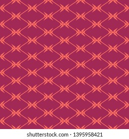 Diamond grid seamless pattern. Vector geometric texture with rhombuses, net, mesh, lattice, grill, fence, wire. Simple abstract background in burgundy and coral color. Repeat design for decor, fabric