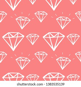 diamond hand drawn seamless pattern. vector illustration on pink background
