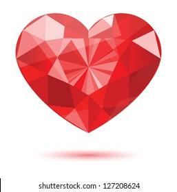 diamond heart shape, vector format for valentine or wedding concept.