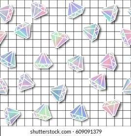 Diamond with holographic effect seamless pattern. Modern style trends 80. surreal hipster images. Bright holographic backgrounds.Vector illustration 10 EPS.
