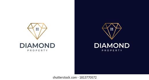 diamond home property logo design vector