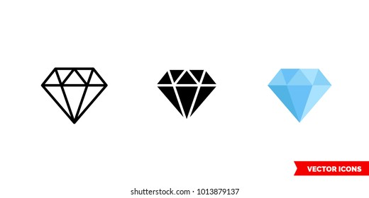 Diamond icon of 3 types: color, black and white, outline. Isolated vector sign symbol.