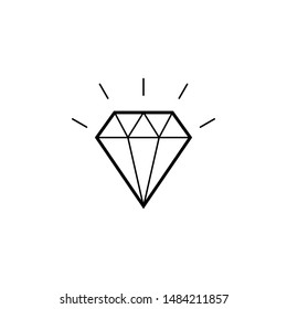 Diamond Icon. Crystal Vector. Jewerly Illustration Isolated On White Background. Brilliant sign for mobile concept and web design.