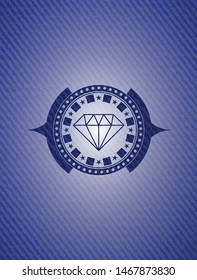 diamond icon inside badge with denim background